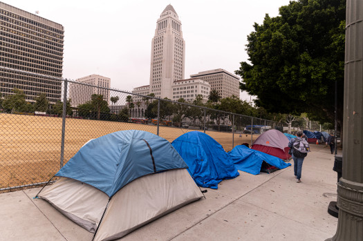 Homeless tents line the sidewalk along 1st street in the shadow of Los Angeles City Hall Wednesday, June 26, 2019.   (Photo by David Crane, Los Angeles Daily News/SCNG)